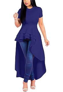 4ccf54633a Fashion High Low Tops for Women - Unique Ruffle Long Sleeve Tunic Shirt  Dress