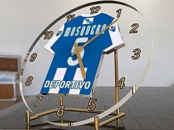 Reloj de sobremesa, diseño de camiseta de fútbol de La Liga española, color Deportivo La Coruna: Amazon.es: Oficina y papelería