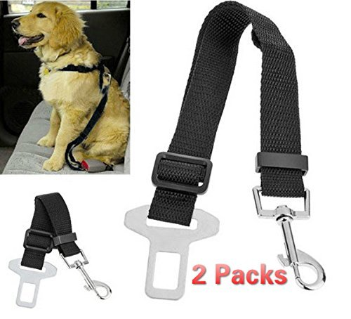 BeauteCa Premium 2 Pack Adjustable Pet Dog Cat Seat belt Safety Leads Car Vehicle Seat Belt Nylon Fabric Seatbelt