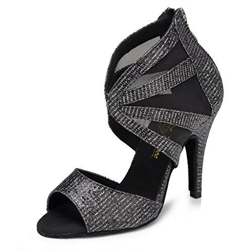Miyoopark Womens Net Sandali Con Cinturino Alla Caviglia E Glitter Sandali Da Ballo Neri