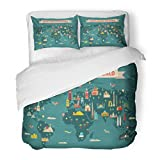 SanChic Duvet Cover Set Yellow Monuments World Travel Map and Tourism Passport Russia Summer Decorative Bedding Set with 2 Pillow Shams Full/Queen Size