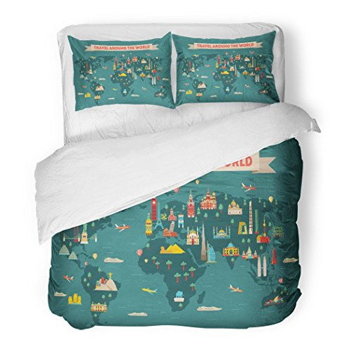 SanChic Duvet Cover Set Yellow Monuments World Travel Map and Tourism Passport Russia Summer Decorative Bedding Set with 2 Pillow Shams Full/Queen Size by SanChic