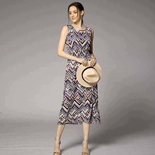 Vestido largo Amlaiworld Vestido de playa de vestido de Boho de impresión floral de las mujeres D