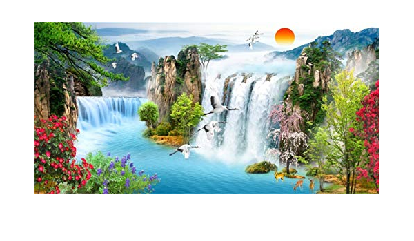 Fantasy 8x10 FT Backdrop Photographers,Vivid Colored Dreamy Environment with Water in Bedrocks Artful Spring Scene Print Background for Party Home Decor Outdoorsy Theme Vinyl Shoot Props Tan Orange