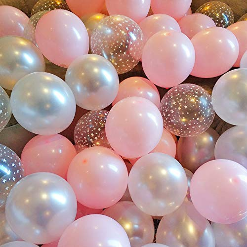 BALONAR 90pcs 12inch Pink White and Star Printed Latex Balloon for Birthday Party Decoration Baby Shower Supplies Wedding Ceremony Balloon Anniversary Decorations Arch Balloon Tower (Printed Star)
