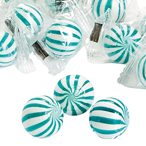 1 Lb. Blue Striped Hard Candy Balls (Approx. 91 Pcs.) - Blueberry-flavored.