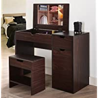ioHOMES Marc 2-Piece Modern Vanity and Storage Stool Set, Walnut