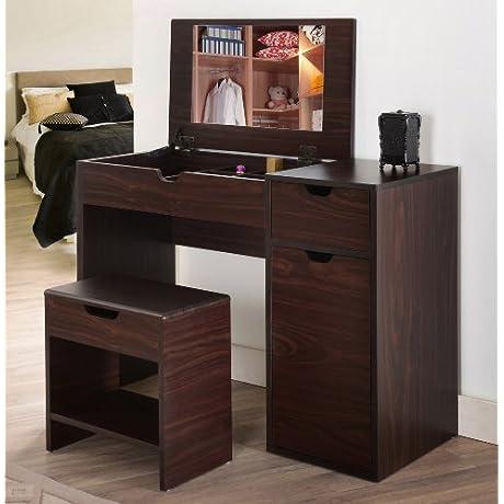IoHOMES Marc 2 Piece Modern Vanity And Storage Stool Set Walnut