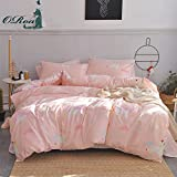 #7: ORoa New Cartoon Animal Unicorn Twin Cute Duvet Cover Set for Kids Teen Girls 100% Cotton Reversible Lightweight 3 Pieces Kids Twin Bedding Sets with Pillowcases Child Striped Bedding Duvet Cover