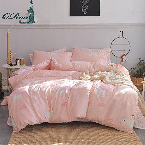 ORoa Soft Cute Cartoon Queen Full Size Animal Unicorn Print Duvet Cover Set for Kids Teens Girls Cotton 100 Percent, Children Striped Bedding Sets, Reversible Lightweight Breathable(Pink, Queen)