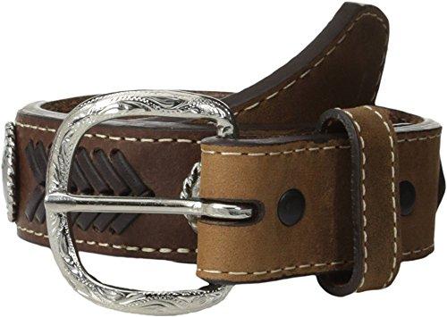 Nocona Boy's Arrow Style Stitching Belt, Medium Brown Distressed, 24