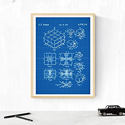 Nacnic Azul - Pack de 4 Láminas con Patentes de Juegos DE Mesa ...