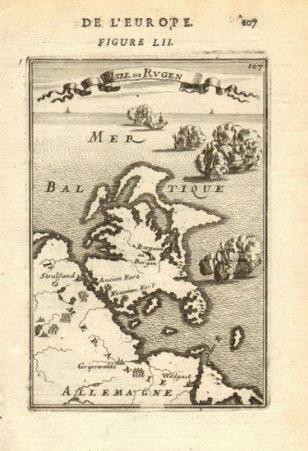 Pommern Germany Map.Amazon Com Rugen Isle De Rugen Pomeranian Coast Germany