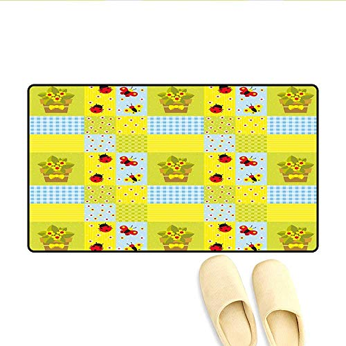 Bath Mat Geometrical Design with Flowers in Pot Butterflies and Ladybugs Door Mats for Inside Pale Green Pale Blue Yellow 24
