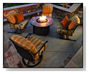 OW Lee Silana Conversation Fire Pit Cushion Patio Wrought Iron Lounge Set