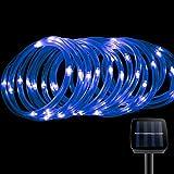 led solar rope lights waterproof 50 leds blue string light