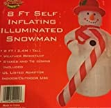 8 ft Christmas Self Inflating Snowman with Huge Candy Cane
