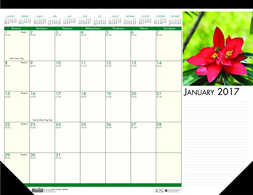 House of Doolittle 2017 Monthly Desk Pad Calendar, Earthscapes Flowers, 18.5 x 13