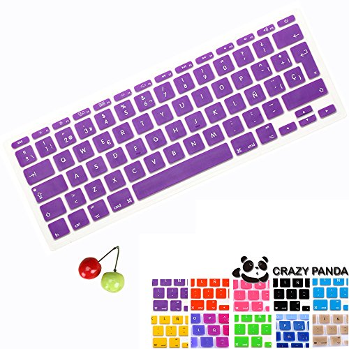 Spanish Version Keyboard Skin,Crazy Panda TPU Keyboard Cover Skin for Macbook Air 11
