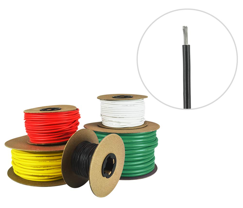 14 AWG Marine Wire -Tinned Copper Primary Boat Cable - 100 Feet - Black - Made in The USA by Common Sense Marine