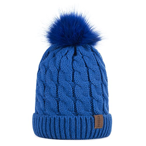 Blue Kids Beanie (Kids Winter Warm Fleece Lined Hat, Baby Toddler Children's Beanie Pom Pom Knit Cap for Girls and Boys by REDESS (Blue))