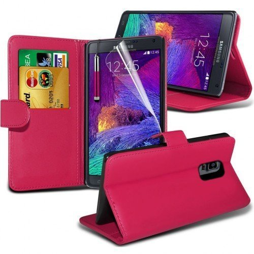 Samsung Galaxy Note 5 Cubierta del caso con cuero (Rosa caliente) Plus de regalo libre, Protector de pantalla y un lápiz óptico, Solicitar ahora mejor caja del teléfono Valorado en Amazon! By FinestPh