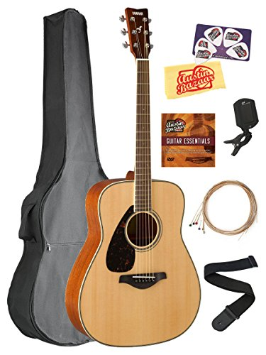 Yamaha FG820L Left-Handed Solid Top Folk Acoustic Guitar – Natural Bundle with Gig Bag, Tuner, Strings, Strap, Austin Bazaar Instructional DVD, Picks, and Austin Bazaar Polishing Cloth