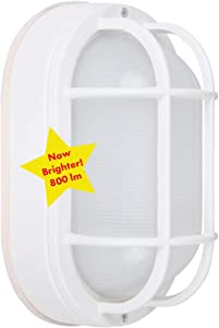 """CORAMDEO Outdoor 8.5"""" Oval LED Bulkhead Light, Flush Mount for Wall or Ceiling, Wet Location, 75W (800 lumens) of Light from 10.5W of Power, 3K, White Cast Aluminum with Frosted Glass Lens"""