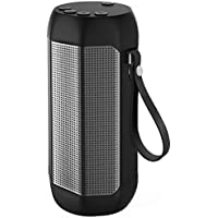 Kissral Portable Bluetooth Speaker, Wireless Speaker Outdoor Strong Bass 24 Hours Playing Time with TF Card and FM Radio - Black