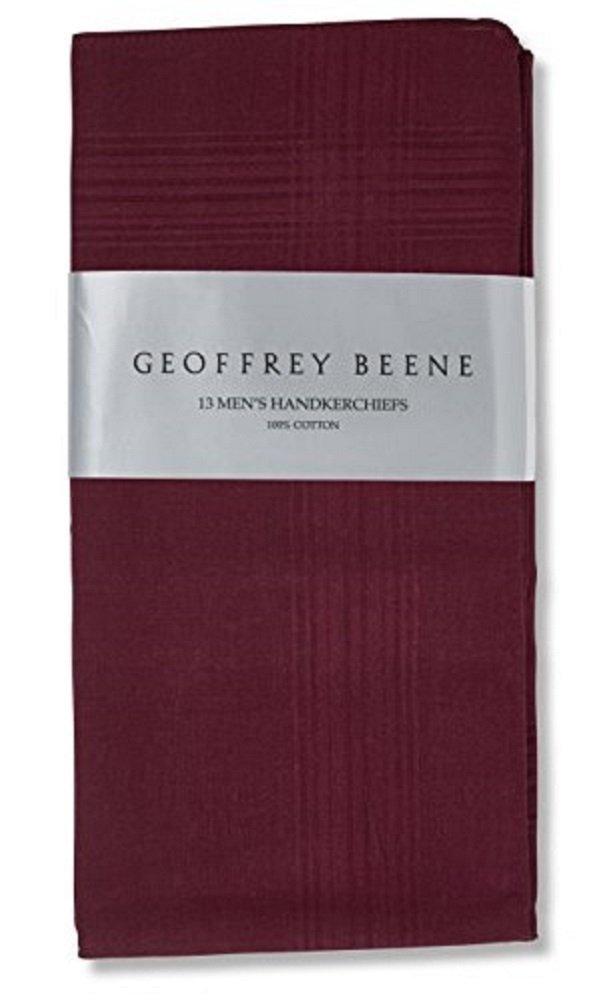 Geoffrey Beene 13 Pack Fine Handkerchiefs 100% Cotton (Burgundy)