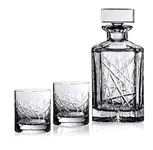 BOHEMIAN CRYSTAL GLASS WHISKEY SET 1+6