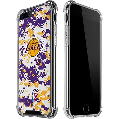 Skinit Los Angeles Lakers Digi Camo iPhone 7/8 Plus Clear Case - Officially Licensed NBA Phone Case Clear - Transparent iPhone 7/8 Plus Cover