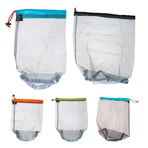 Travel Ultralight Mesh Drawstring Storage Bag Blue - 5