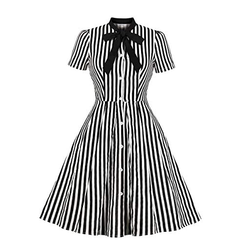 Women's Vintage Black and White Striped Button Down Shirt Dress, Sizes 4 to 20