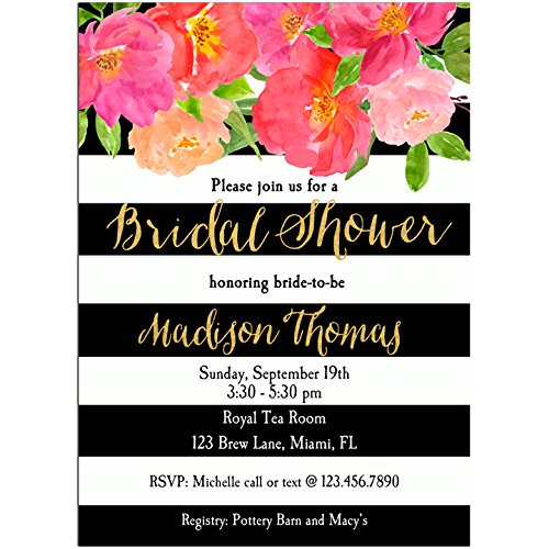 floral black stripe invitations with any wording printed or printable bridal shower invitation