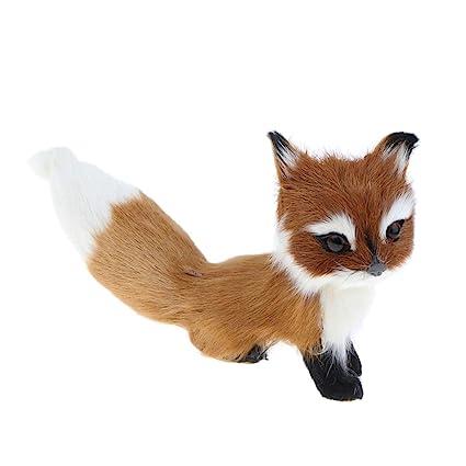 Sharplace Juguete de Animales de Peluche Modelo de Zorro de Piel Sintético Adorno de Hogar