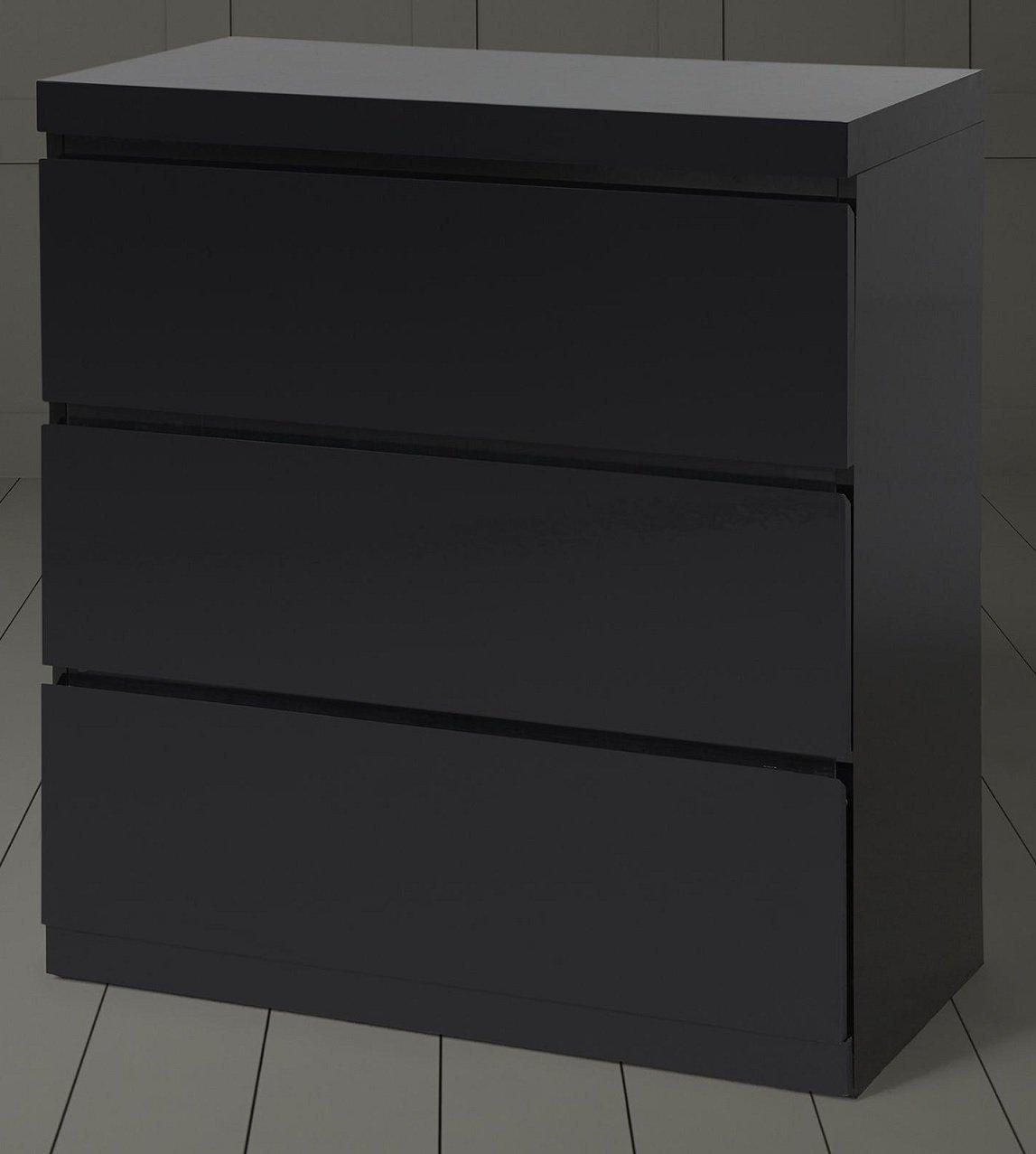 Tesco NEW Maine High Gloss Chest of 3 Drawers - Black