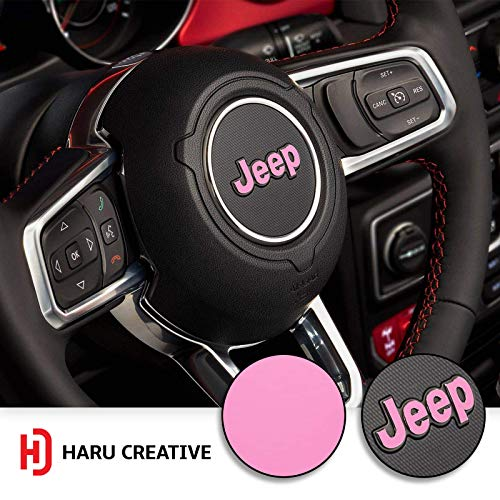 Haru Creative - Steering Wheel Emblem Letter Overlay Vinyl Decal Sticker Compatible with and Fits Jeep Wrangler JL 2018 - Matte Pink