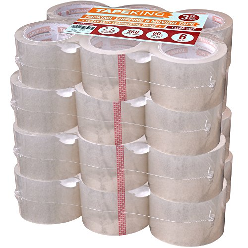 Tape King Clear Packing Tape 3 Inch Wide (Case of 24 Rolls) - 60 Yards Per Refill Roll, (2.7mil Thick) Strong Sealing Adhesive Industrial Depot Tapes for Moving, Packaging, Shipping, Office & Storage