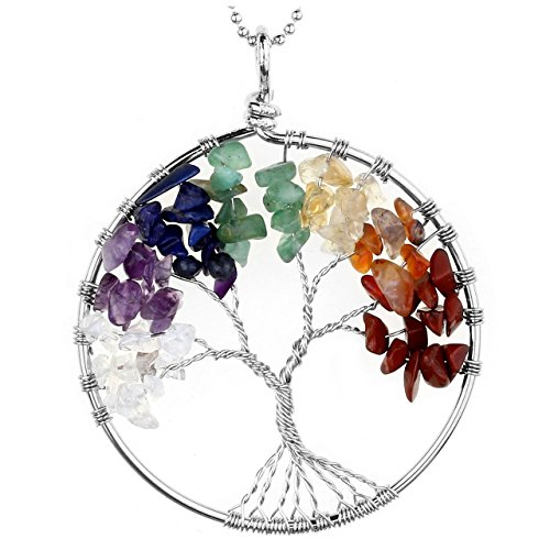 Jovivi Crystal Quartz Tree Life Pendant Necklace,7 Chakras Gemstone (Positive Energy Necklace)