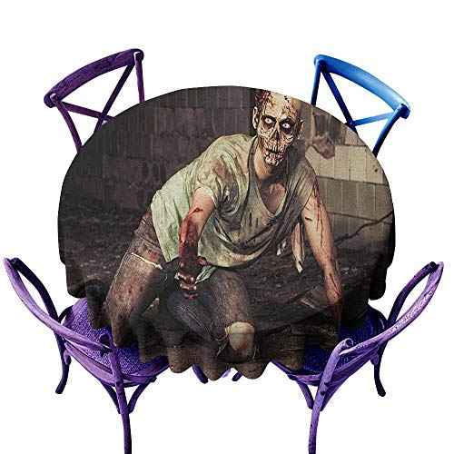 ONECUTE Tablecloth for Kids/Childrens,Zombie Halloween Scary Dead Man in The Old Building with Bloody Head Nightmare Theme,Table Cover for Home Restaurant,67 INCH Grey Mint Peach]()