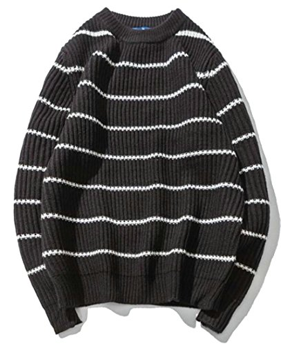 Cheap Alion Men's Fashion Stripe Round Neck Long Sleeve Pullover Knit Sweater