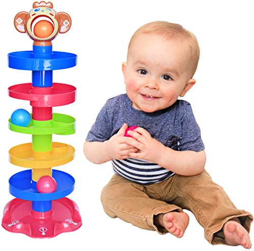 CC O PLAY Monkey Ball Drop Toy for Babies and Toddlers | New 6 Layer Tower Run with Swirling Ramps and 3 Balls | Best Educational Development Toy Set for Kids