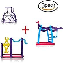 3Pcs Interactive Baby Monkey Playsets with Jungle Swing Gym Frame and Movement Support Climbing Stand and Portable Seesaw