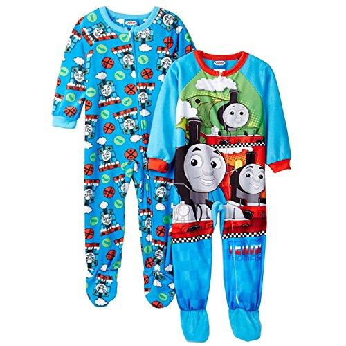 Thomas and Friends 2 pack Blanket Sleeper Pajamas (2T, Blue Thomas) -