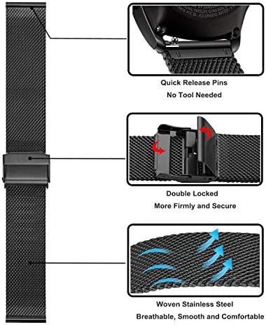 Band Sets for Samsung Galaxy Watch 42mm / Active 2 40mm 44mm, TRUMiRR 20mm 2 Pack Solid Stainless Steel Watchband + Mesh Woven Strap Quick Release Wristband for Garmin Vivoactive 3 Ticwatch E 51g1kdpExyL
