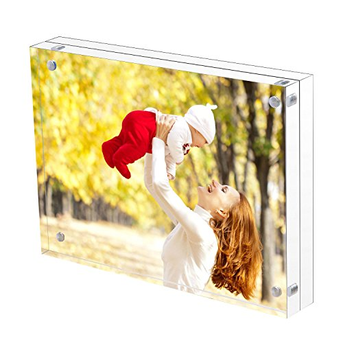 Sooyee 8.5X11 Acrylic Frame, Clear,Magnetic Photo Frame, Double Sided Frameless Standing in Desktop Picture Display,Pack of 1(10 + 10MM Thickness) - Standing Portrait