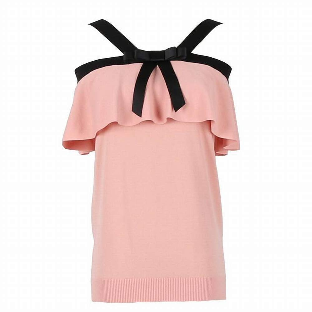 Thumby Sexy Wort Schulter Gekräuselte Schlinge Bogen Ärmelloses Pullover Shirt Frauen B07GVFFN33 Bekleidung Üppiges Design