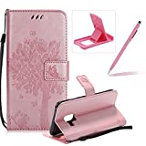 Strap Leather Case for Samsung Galaxy A8 2018,Bookstyle Magnetic [Rose Gold Solid Color] Stand Flip Case for Samsung Galaxy A8 2018,Herzzer Premium Elegant Butterfly Tree Cat Print Fold Wallet Folio Smart Case For Samsung Galaxy A8 2018 + 1 x Pink Cellphone Kickstand + 1 x Pink Stylus Pen