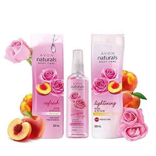 (Avon Naturals Rose & Peach Whitening Body Lotion + Shower Gel + 3 in 1 Rose HydroSpray (combo))